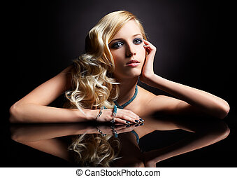 beautiful blonde - glamour portrait of beautiful curly...