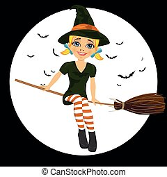Beautiful blonde witch in green dress flying on broom