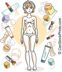 Beautiful blonde woman adult wearing white bra and panties and standing on background with cosmetic accessories. Vector attractive female illustration. Glamour lifestyle theme cartoon.