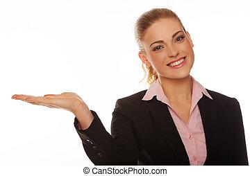 Beautiful blonde woman extending her palm