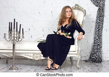 blonde woman in dress