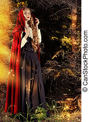 fairy forest - Beautiful blonde woman in old-fashioned dress...