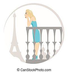 beautiful blonde woman in paris