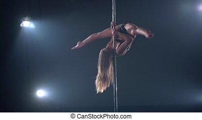 Beautiful blonde woman in pole dance edit cut - edit cut of...