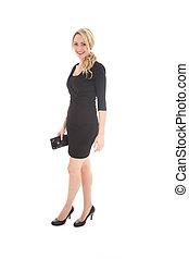 Beautiful Blonde Woman in Tight Black Dress - Beautiful...