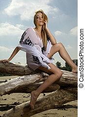 beautiful blonde woman in white shirt