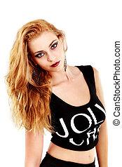 beautiful blonde woman on white background