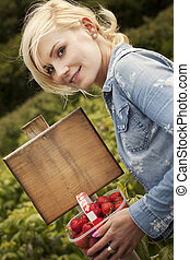 Beautiful blonde woman picking strawberries