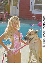 Blonde Woman Poolside with a Great Dane - Beautiful Blonde...
