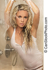 Beautiful blonde woman posing.