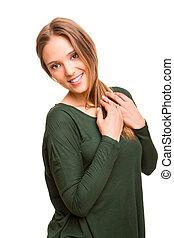 Beautiful blonde woman posing