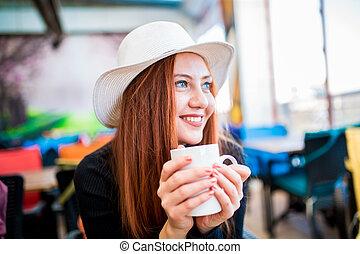 Beautiful blonde woman sitting in the head - Beautiful girl...
