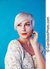beautiful blonde woman with short hair fashion portrait