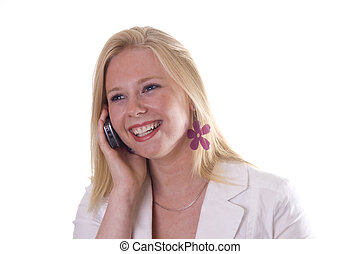 Beautiful blonde young woman smiling with phone