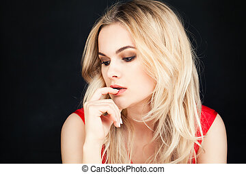 Beautiful Blondie Fashion Model Woman with Blonde Hairstyle