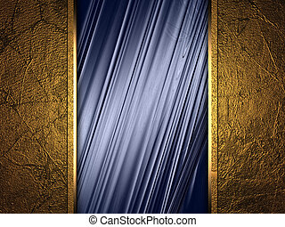 blue abstract background with a metal sign for writing.