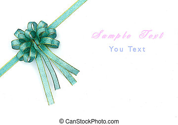 Beautiful blue and gold bow on white background