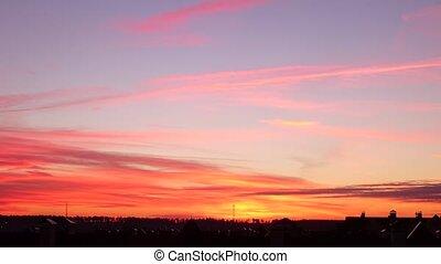 Beautiful blue and orange sunset sky time lapse. 4K video