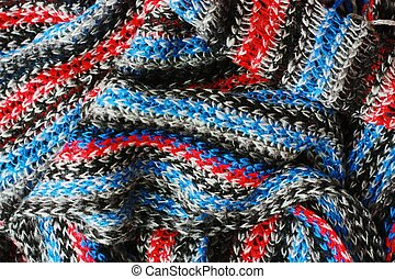 Beautiful blue and red scarf close up view