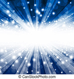 beautiful blue bokeh background with rays