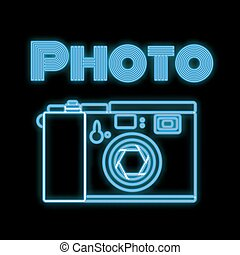 Beautiful blue bright glowing abstract neon icon, signboard from an old retro vintage camera with a diaphragm and copy space with an inscription photo on a black background. Vector illustration