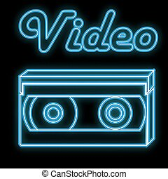 Beautiful blue bright glowing abstract neon sign of old retro vintage videotapes from the 80s, 90s and copy space with a video caption on a black background. Vector.