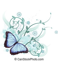 Beautiful floral background featuring hibiscus flowers and blue Morpho Peleides butterfly