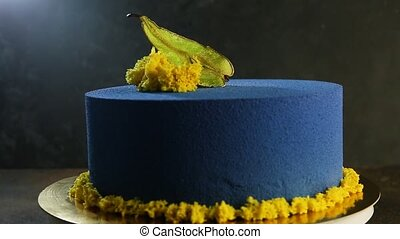 beautiful blue cake decorated with dried pear - beautiful...