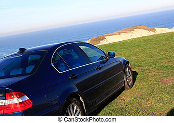 beautiful blue car standing on a green meadow by the sea