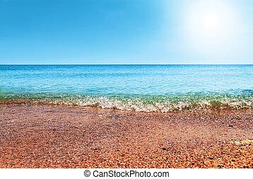 beautiful blue Caribbean Sea sky and sun