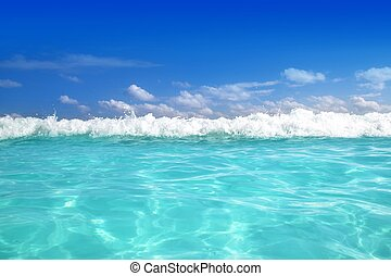blue caribbean sea water wave horizon - beautiful blue...