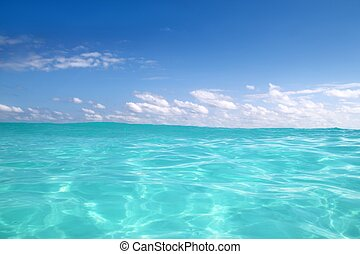 blue caribbean sea water wave horizon