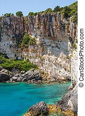 Beautiful blue caves on Zakynthos island, Greece