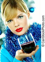 Beautiful Blue Christmas - Beautiful young woman holding ...