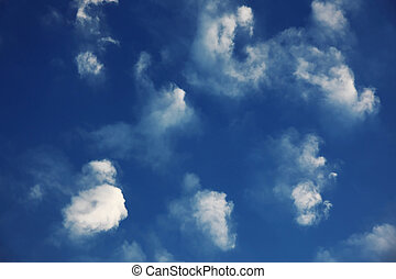 Beautiful blue dramatic sky with clouds