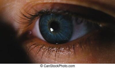 Beautiful blue eye closeup, girl is sung by a book on the phone macro shot