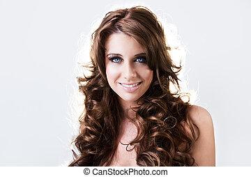 Beautiful blue eyed brunnete smiling - Beautiful blue eyed...