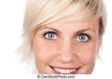 Beautiful Blue Eyed Woman Looking At Camera