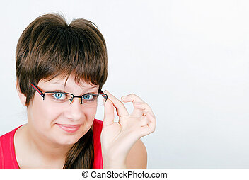 beautiful blue eyed young smiling girl in glasses