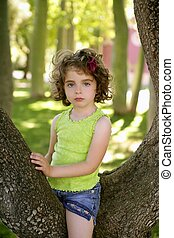 Beautiful blue eyes little girl in the park tree