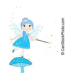 Beautiful blue fairy girl vector background