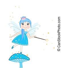 Beautiful blue fairy girl vector background