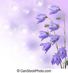 Beautiful blue flowers campanula on lilac background