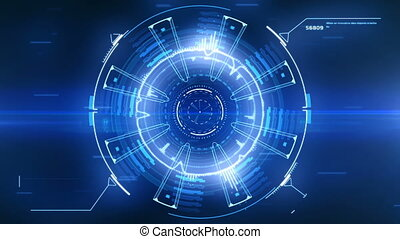 Beautiful Blue Futuristic HUD with Flares and Flashes. Numbers and Code Running. Target Scanner with Radar Rotation. Head-up Display Computer Data. High Tech Concept Element. Full HD 1920x1080.