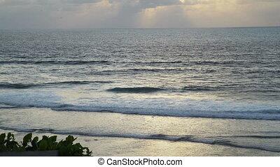 Beautiful Blue Giant Ocean Waves Uluwatu Bali Indonesia