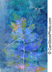Beautiful blue grunge background with natural leaves in blue