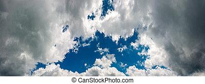 beautiful blue hall on an overcast sky. dark grey rainy...