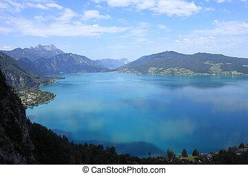 beautiful blue lake in austria