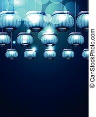 beautiful blue lamps
