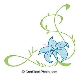 Beautiful blue lily flowers illustration